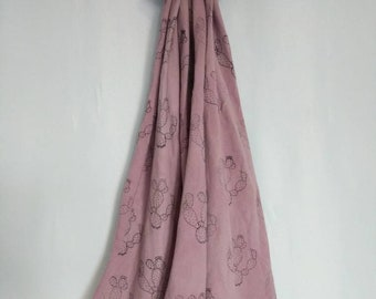 Cochineal dyed scarf/wrap with stamped cacti