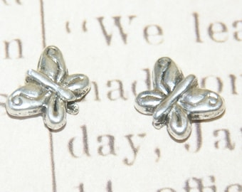 5 silver metal Butterfly beads solid 11x8mm