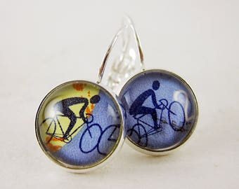 2 Cyclists Leverback Earrings, Vintage 1965 Philippines Postage Stamp Jewelry, Nickel Free Silver, Bicycles Bikes, Periwinkle Blue, Cute Fun