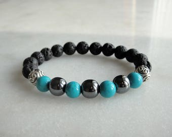 Genuine turquoise hematite lava stone sterling silver bracelet / Beaded turquoise silver bracelet turquoise jewelry black bracelet