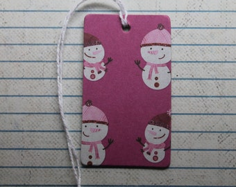 28 Winter/Christmas gift tags berry colored Snowman patterned paper over chipboard