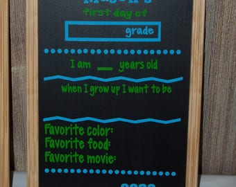 First Day of School Chalkboard sign, Photo Prop, Back to school, Child Chalkboard, 1st day sign,