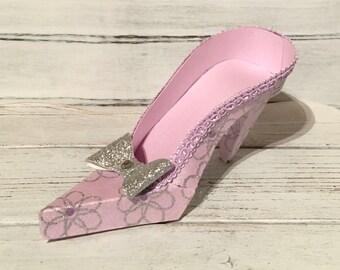 Paper Shoe Keepsake, Lavender Flowers High Heel Paper Keepsake Shoe, Art Sculpture, Centerpiece, Decoration, Original Design