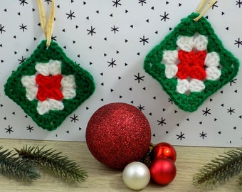 Christmas decorations. Mini Granny Square. Hand made crochet. Hang on the tree