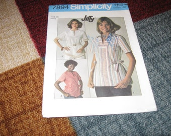 Simplicity Pattern 7894 UNCUT FACTORY FOLDED Size 12 Misses' Jiffy Pullover Tops Dated 1977  BoHo Hippie 70s