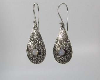 Item 4259 - Textured Lightweight Fine and Sterling Silver Earrings with Flowers set with Genuine Chalcedony Gemstone