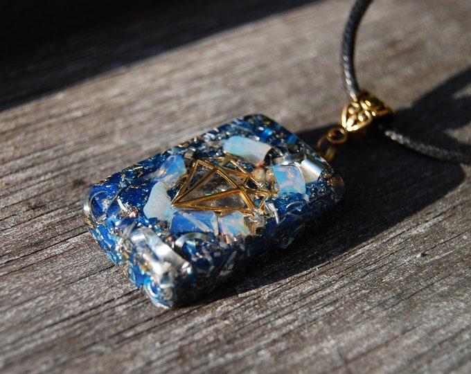 Diamond Orgone Orgonite® Pendant Men's Necklace 24K Gold