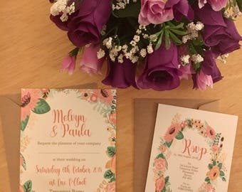 Floral wedding invitation, flat wedding invite, Summer wedding x15