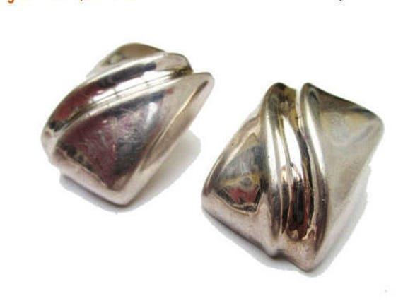 Sterling Large rectangle earrings - Silver Hallow - Modernistic modern - South Western - Pierced Earring