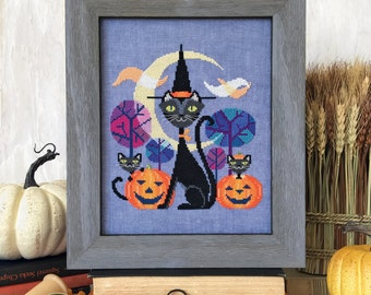 SATSUMA STREET Halloween Cat counted cross stitch patterns at thecottageneedle.com black cat jack-o-lantern mid-century modern wall art
