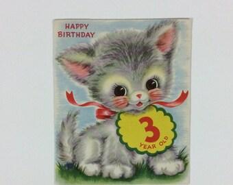 Vintage Original Pink Puffy Cheeks 3 Yr Old Kitty Cat Children's Birthday Card