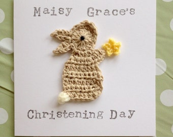 Personalised Handmade 'Christening Day'' Bunny Crochet Greeting Card