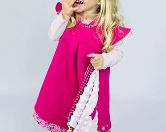 Pink winter dress for girl printed fuchsia drops and stars silver