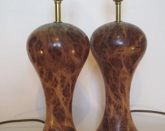Wood Turned Burr Oak and brass Lamp