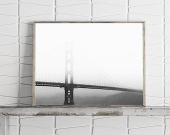 Golden Gate Bridge San Francisco California Architecture Poster, Large Wall Art Prints Black and White Photography Prints Minimalist Print