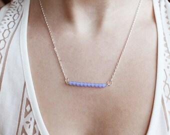 Light Blue Glass Bar Necklace, Dainty Necklace, Simple Bar Necklace, Blue Glass Necklace, Simple Necklace