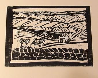Snow over Barbieston handmade linocut print