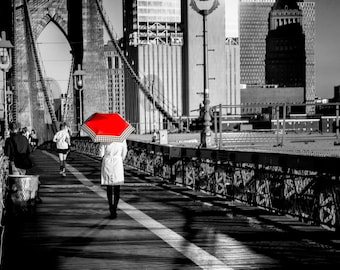 New York City,Canvas Art,Brooklyn Bridge,Black and White,Red Umbrella,Wall Art,Home Decor,Manhattan,Brooklyn,Office Decor,Red,Wall Hanging