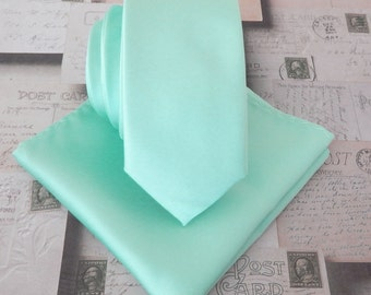 Pastel Mint Green Skinny Necktie with *FREE* Matching Pocket Square Set