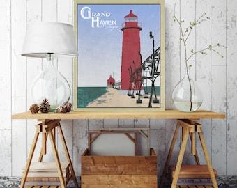 Grand Haven Michigan, Vintage Style Canvas Print, Michigan Canvas Illustration, Grand Haven State Park, Vintage Wall Decor, Vintage Wall Art