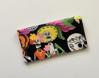 Day of the Dead Checkbook Cover, Fabric Checkbook Cover, Mexican Checkbook, Latina Gifts, Cute Checkbook Holder