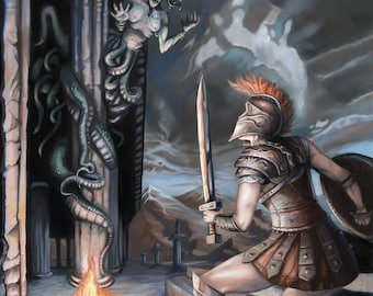 Perilous encounter with a gorgon (Digital file)