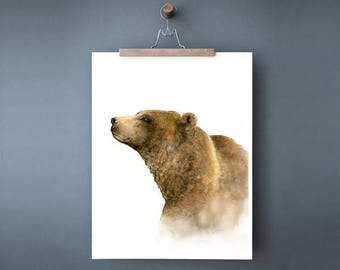 Grizzly bear print of watercolor painting, forest animal print of brown bear wall art, wildlife art anniversary gift for him 5x7, 8x10 11x14