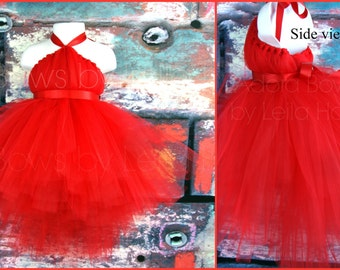 Made 2 order Red halter tutu high low tutu bustle dress ADD gloves Valentines day flower girl photography girls kids party dress photography