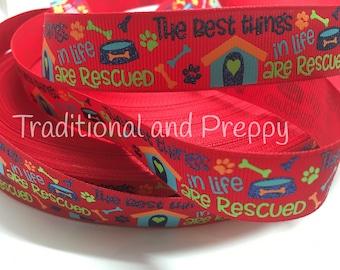 """3 yards 7/8"""" Rescue Dog Puppy Bone grosgrain ribbon"""