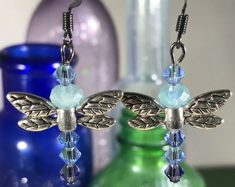 Dragonfly with Blue Swarovski Crystals Earrings
