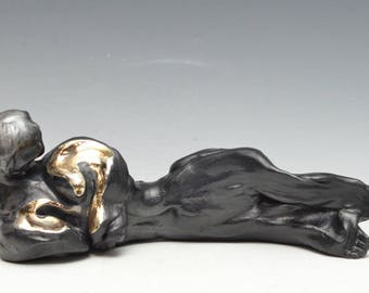 Abstract Figurative Sculpture Reclining Buddha in Raku Ceramics