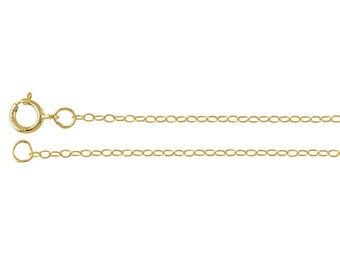 14/20 Yellow Gold-Filled 1.1mm Flat Oval Cable Chain, select your length.