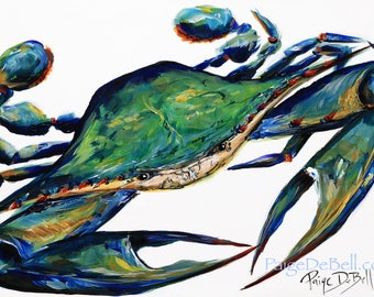"""Blue Green Crab** 11"""" x17"""" Print of my original by New Orleans artist, Paige DeBell"""