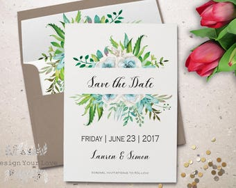 "printable save the date printable green wedding save the date leafy wreath greenery watercolor floral save our date wedding invite 5""x7"""