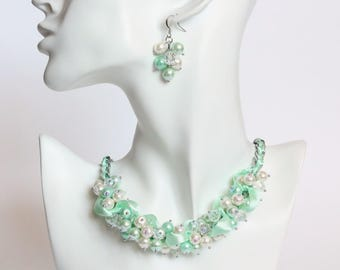 Mint Green Cluster Necklace and Earrings Set