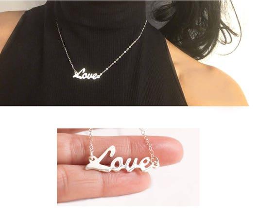 Silver Love Necklace, Love Necklace, Love Name Necklace, Cursive Script Necklace, Love Pendant, Dainty Love Necklace, Love Plate Necklace