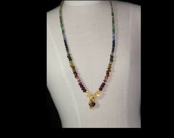 Multi gemstones and goldplate necklace.