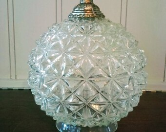 Clear cut glass globe lamp shade with finial