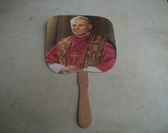 Pope John Paul II souvenir fan 1987