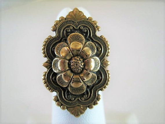 Antique Brass Ring, Size 5, Brass FlowerTop, Early Brass Expandable, Art Deco Style