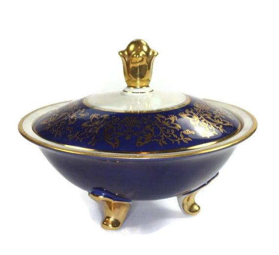 Cobalt Blue Ceramic Dish with Lid Floral Gold Tone Decoration Footed Vintage