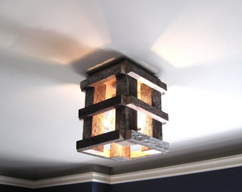 Ceiling Light Fixture - Flush Mount - for Home, Hallway, Loft etc. Handmade from reclaimed wood!