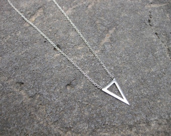 Single Pennant Triangle Necklace - Sterling Silver.