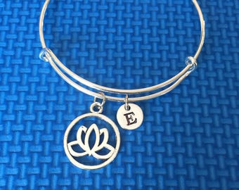 Lotus Initial Bracelet, hand stamped Initial Bracelet, lotus Bracelet, flower bracelet, lotus bangle , gift for nature lovers CP78