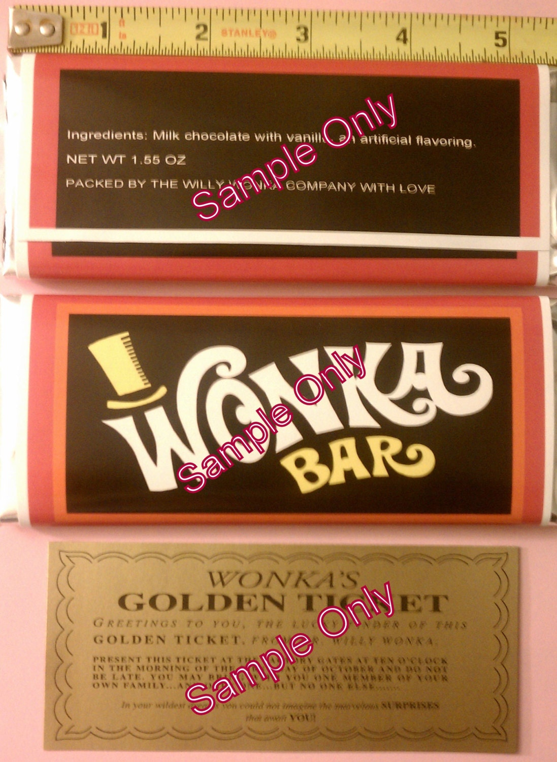 1 55 Oz Willy Wonka Chocolate Bar Wrapper Amp Golden