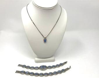 Blue Stone Trio Necklace Bracelet Watch Silver Tone Jewelry Set