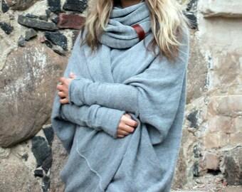 Long wool sweater, woman gift, Alpaca wool oversized loose cocoon cardigan, knit light gray shrug, bohemian wrap, boho coat, romantic style