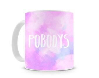 Pobodys Nerfect - Nobodys Perfect Quote 11oz Coated Ceramic mug / inspirational / coffee mug / Quirky / gift / Unique / Brushstrokes / Pink