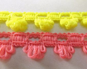 Bright Yellow or Pink Coral Soft and Fuzzy 15mm Scalloped Trim by the yard
