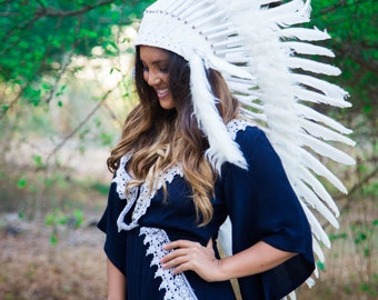 The Original - Real Feather All White Chief Indian Headdress Replica 90cm, Native American Style Costume Hand Made War Bonnet Hat